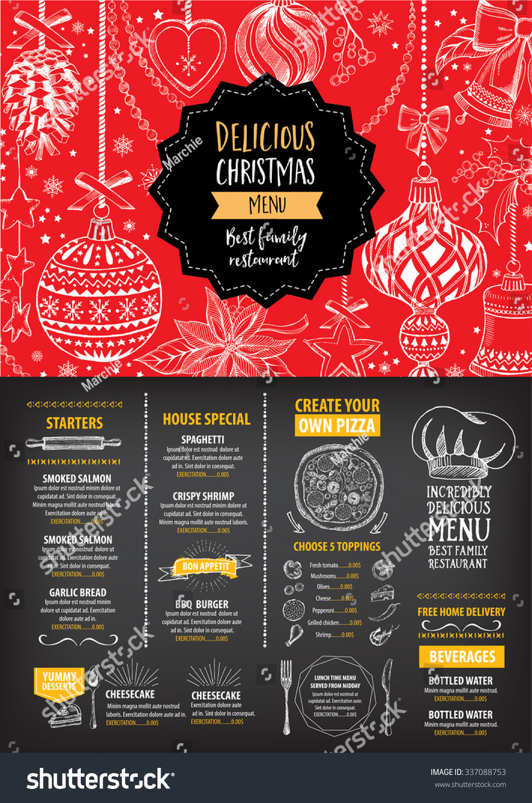 Vector Christmas Restaurant Brochure, Menu Design. Vector Holiday Template  With Xmas Hand Drawn