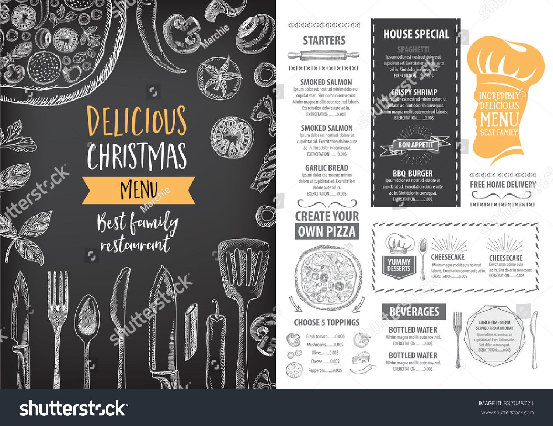Vector christmas restaurant brochure menu design stock for Cafe brochure design