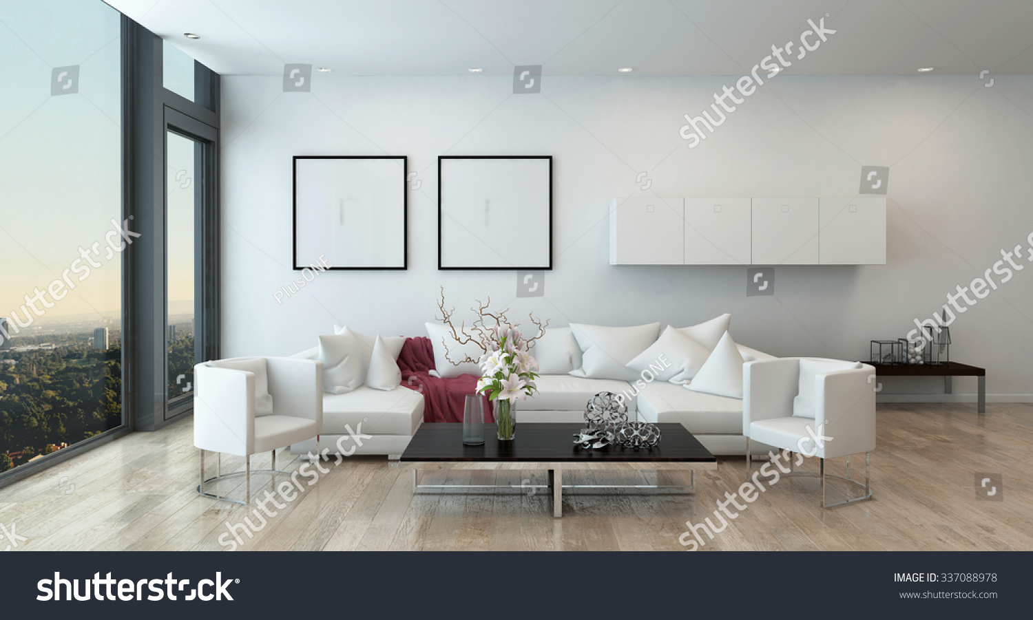 Architectural interior open concept apartment high stock architectural interior of open concept apartment in high rise condo low coffee table and white geotapseo Image collections