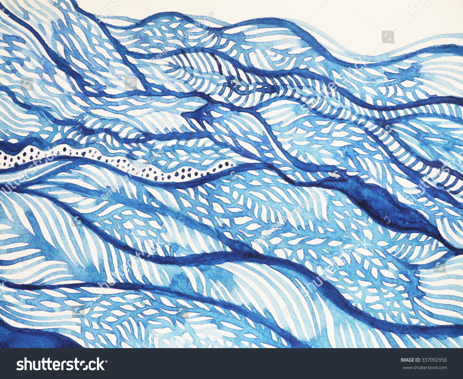 abstract blue wave cloud hill nature stock illustration 337092956