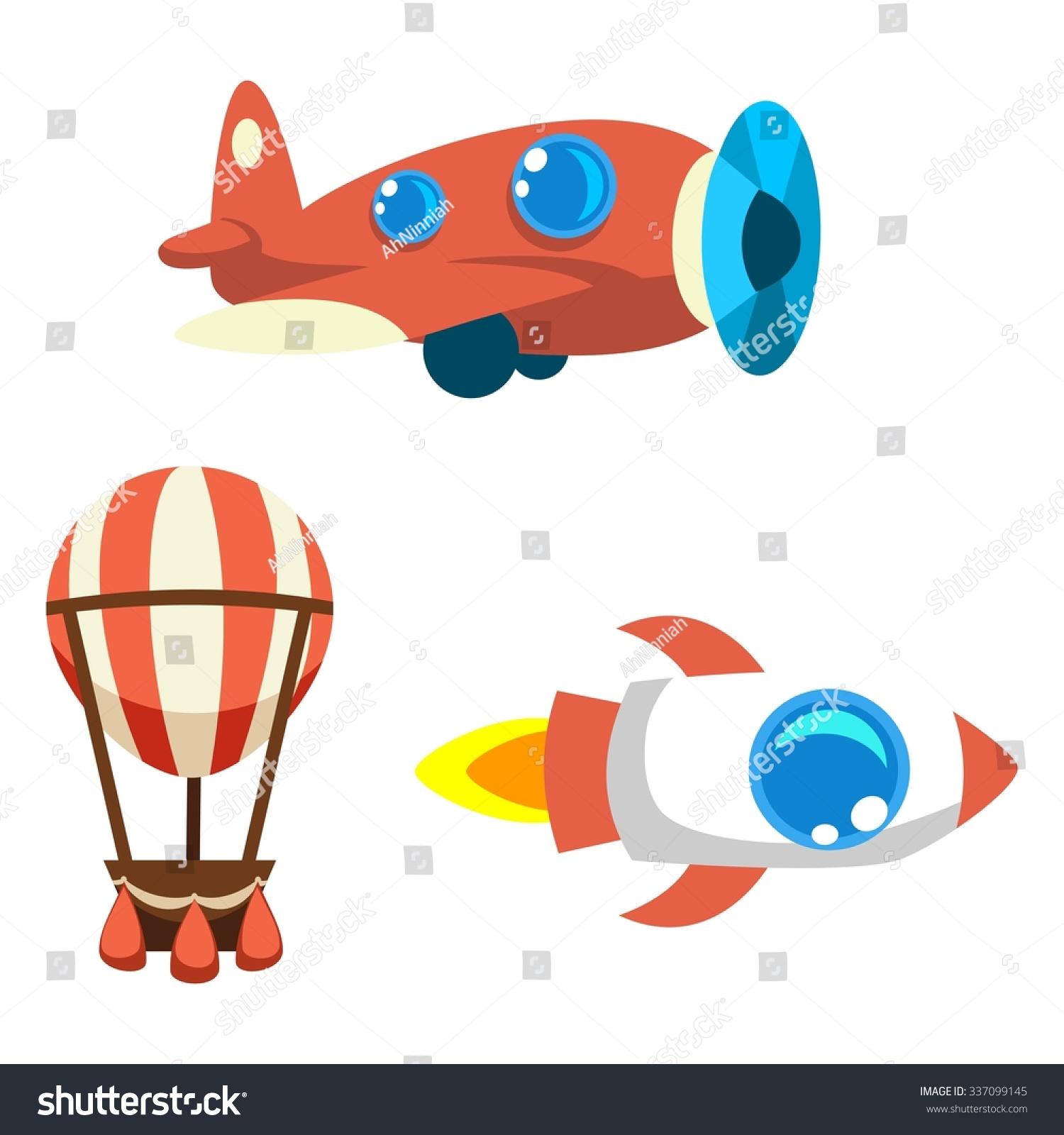 set cartoon vector objects air balloon stock vector 337099145