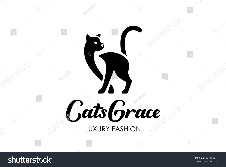 Cat Silhouette Logo Design Vector Template Stock Vector