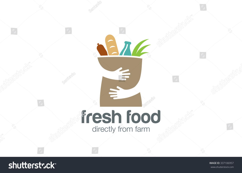 fresh food shopping logo design vector stock vector
