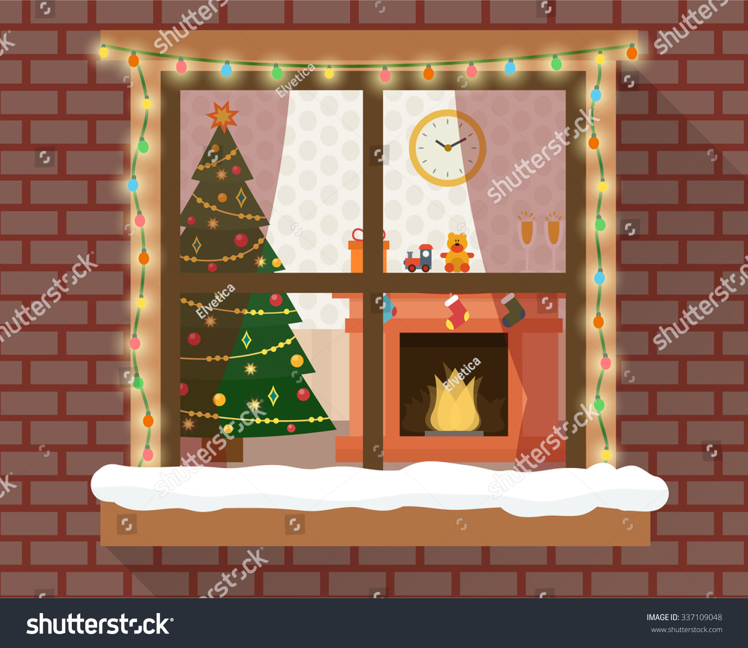 Christmas Room Furniture Christmas Tree Fireplace Stock