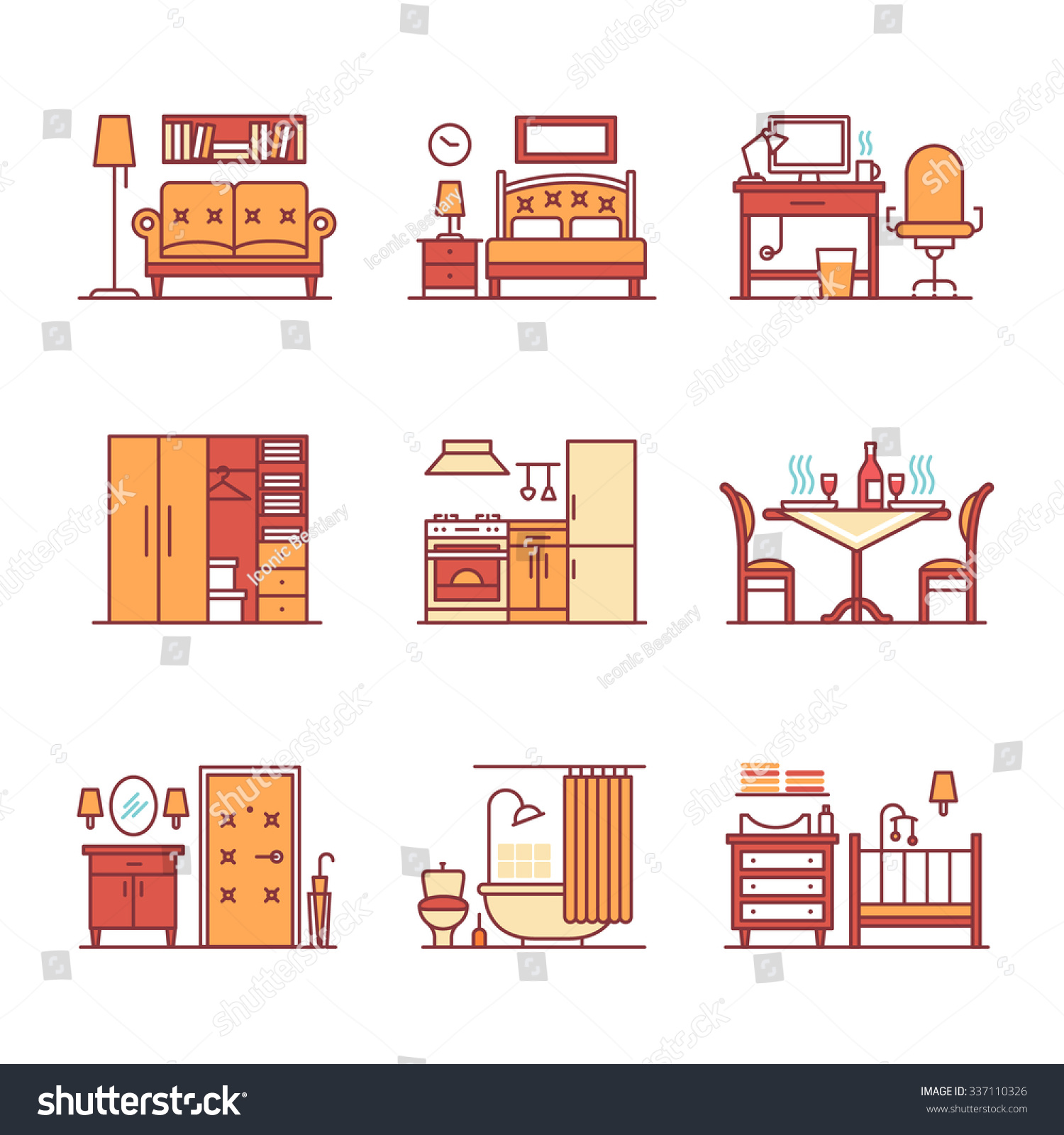 Home room types furniture signs set stock vector 337110326 shutterstock - Types veneers used home furniture ...