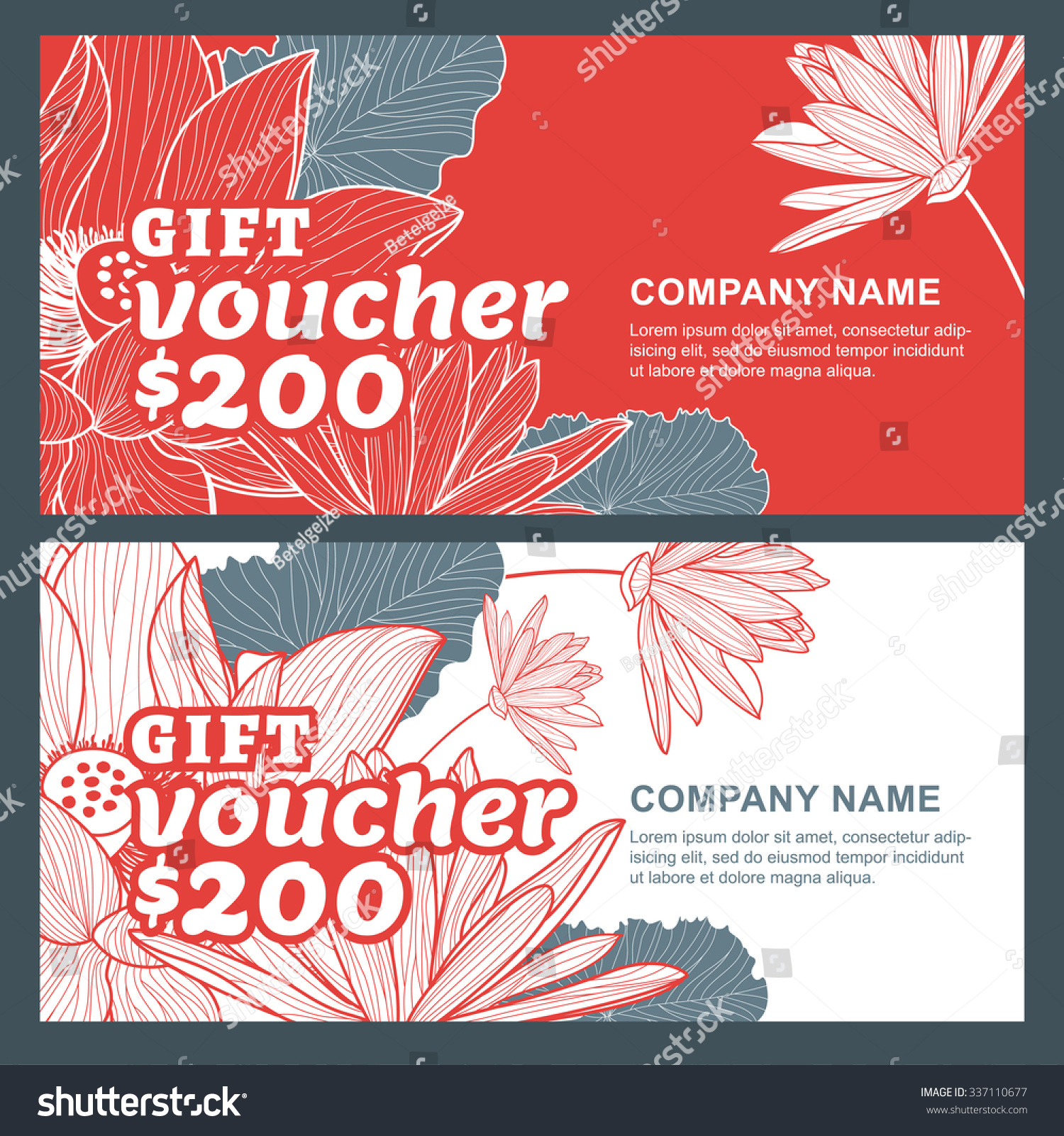 vector t voucher lotus lily flowers stock vector