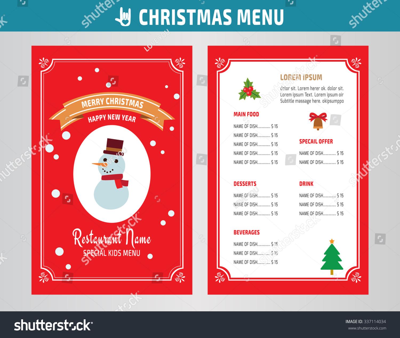 Christmas menu restaurant brochure vector design