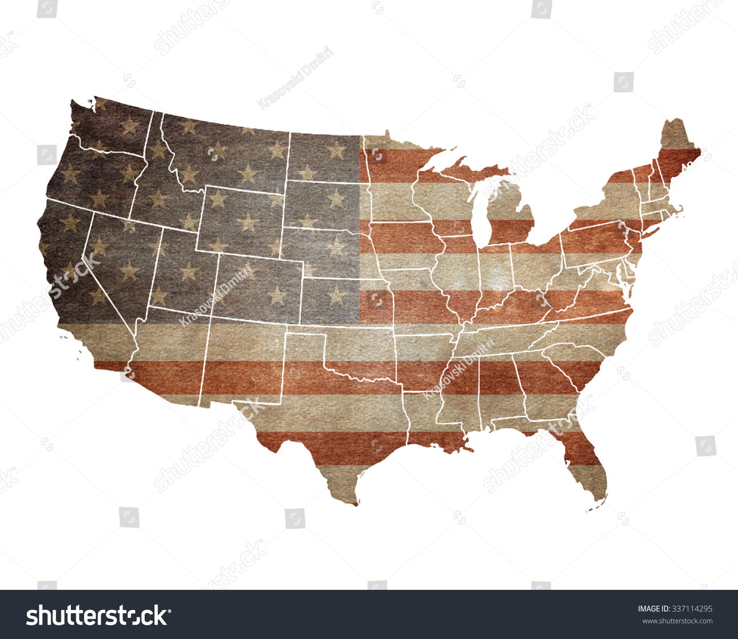 Usa Map American Flag Stock Illustration Shutterstock - Us flag map