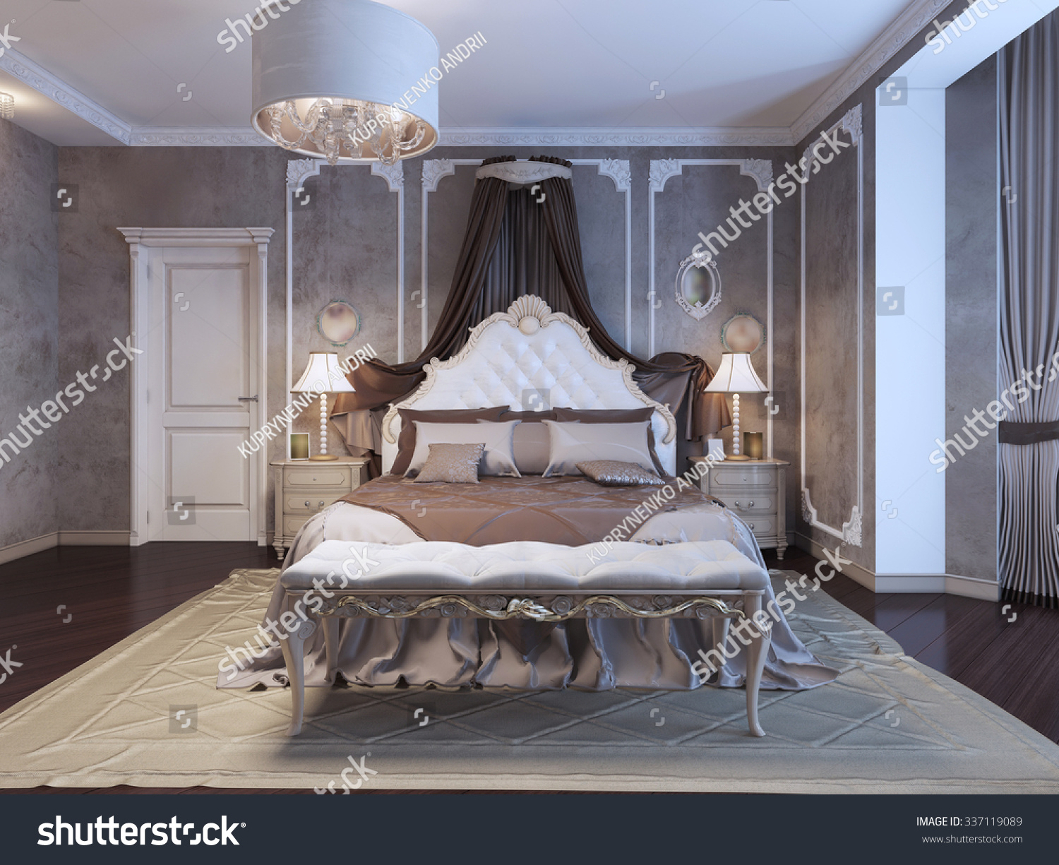 Neoclassical bedroom with frame molding on walls  3D render. Neoclassical Bedroom Frame Molding On Walls Stock Illustration