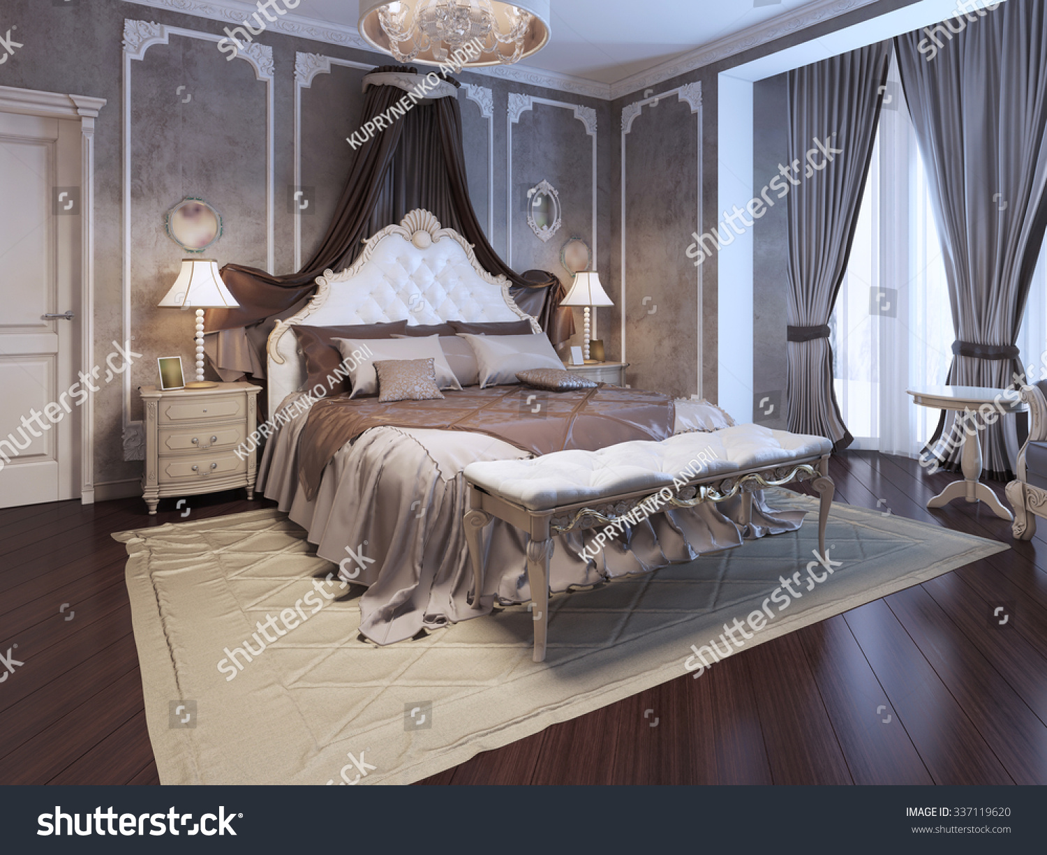 Luxury interior of art deco bedroom  Exclusive bed with white headboard and  curtains  dressed. Luxury Interior Art Deco Bedroom Exclusive Stock Illustration
