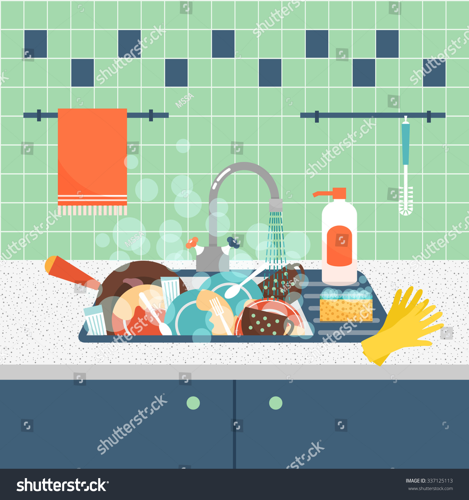 Kitchen Sink With Dishes kitchen sink dirty kitchenware dishes mess stock vector 337125113