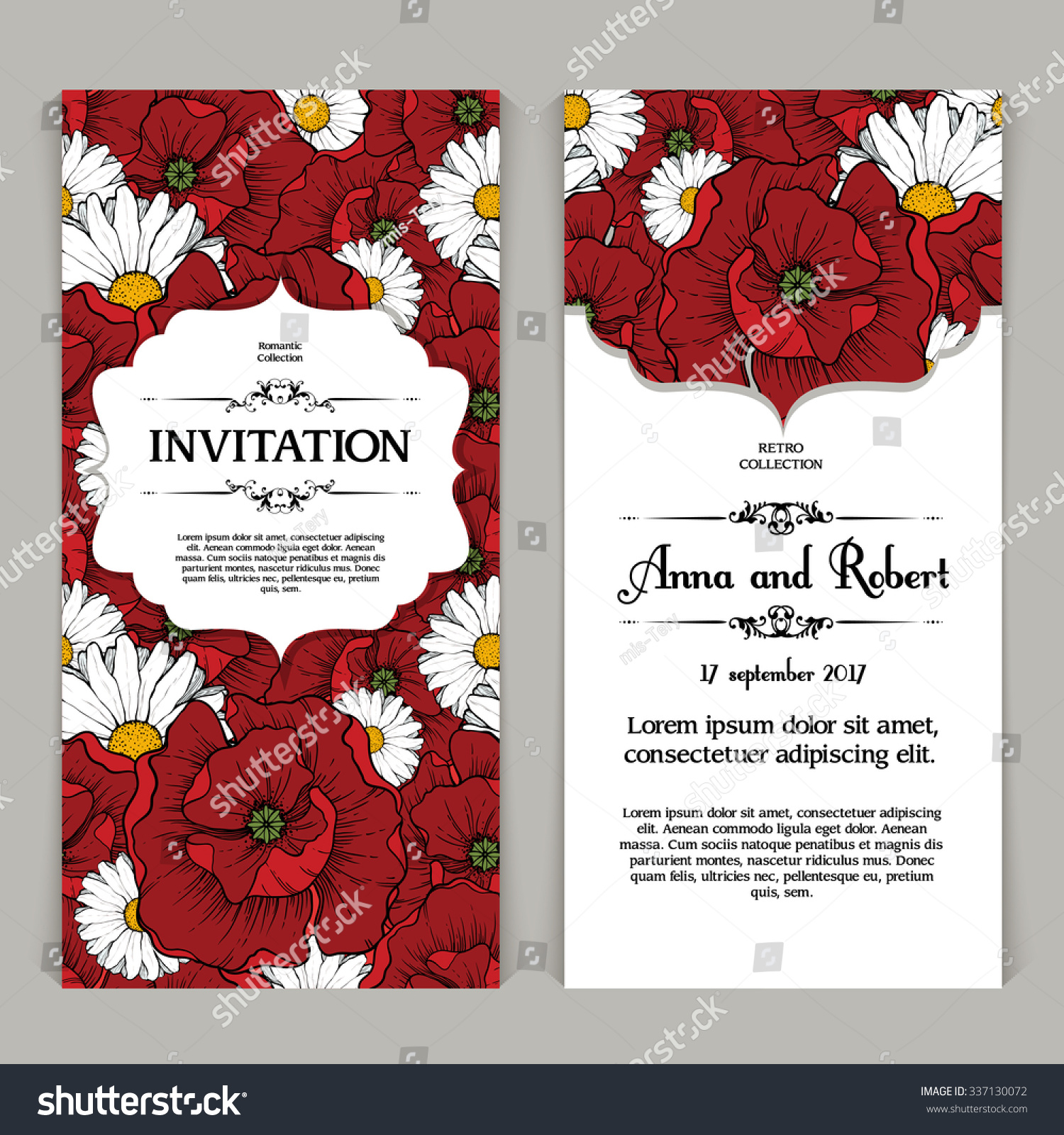 Vector Set Template Bright Floral Background Stock Vector (Royalty ...