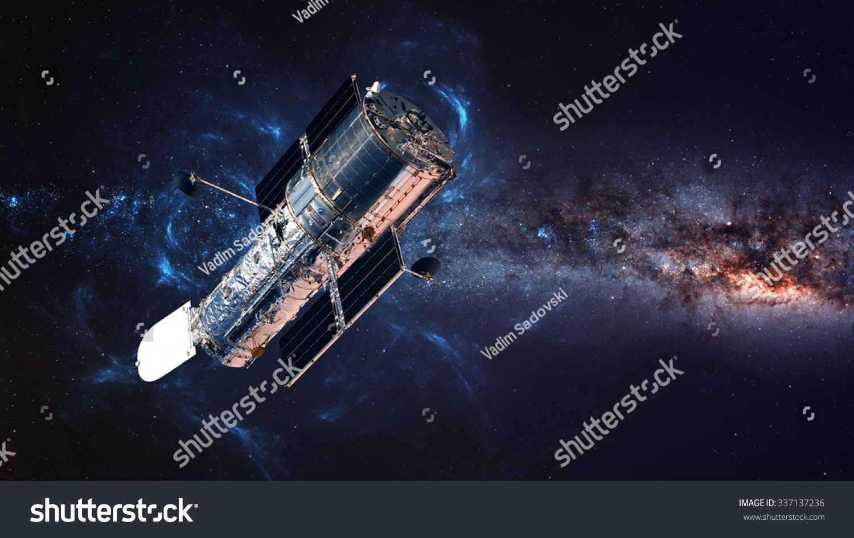 Hubble Space Telescope Orbit Above Earth Stock Photo ...