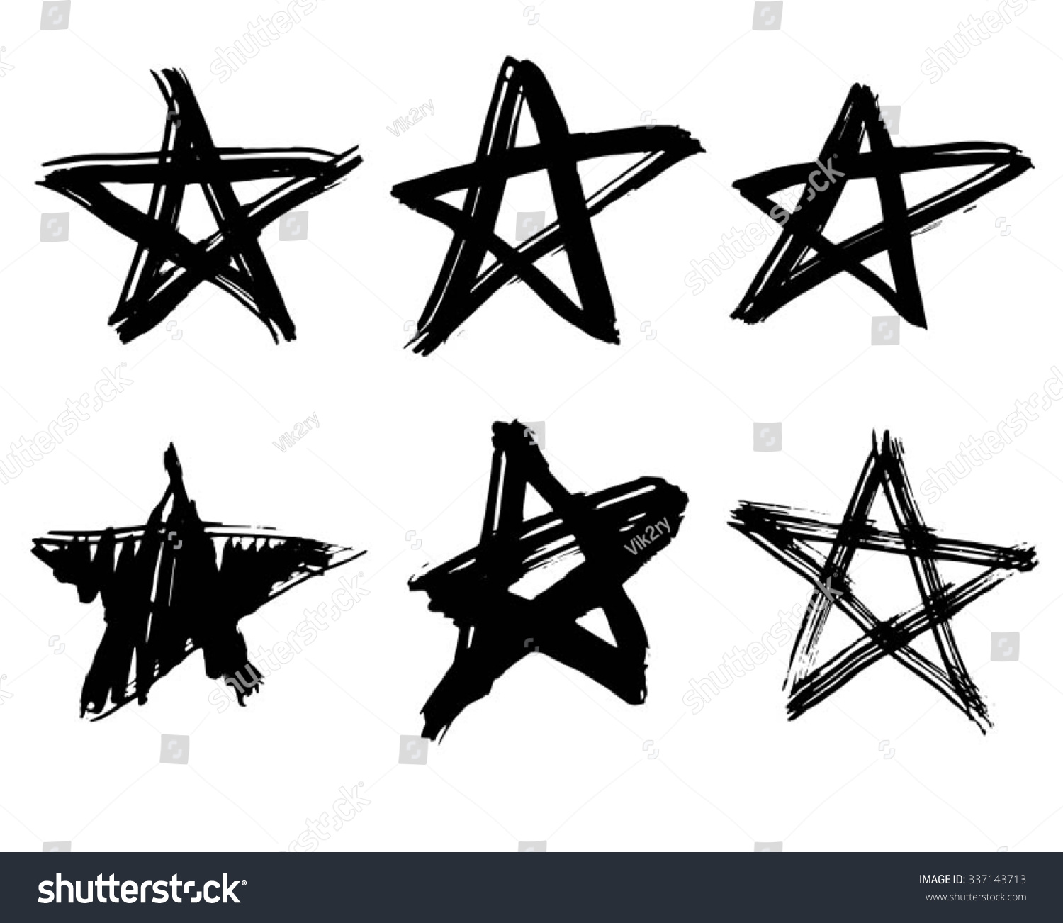 Set Handdrawn Ink Stars Vector Illustration Stock Vector 337143713 - Shutterstock-7441