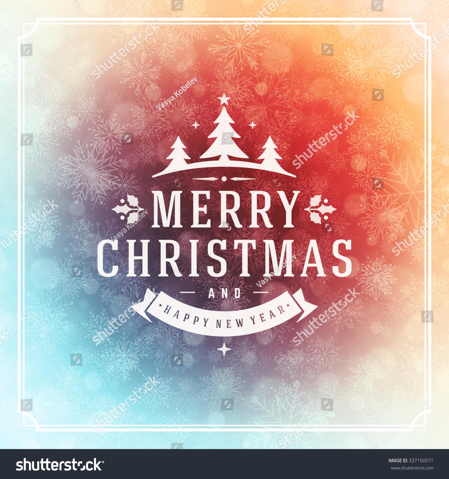Christmas Greeting Card Lights Snowflakes Vector Stock Vector