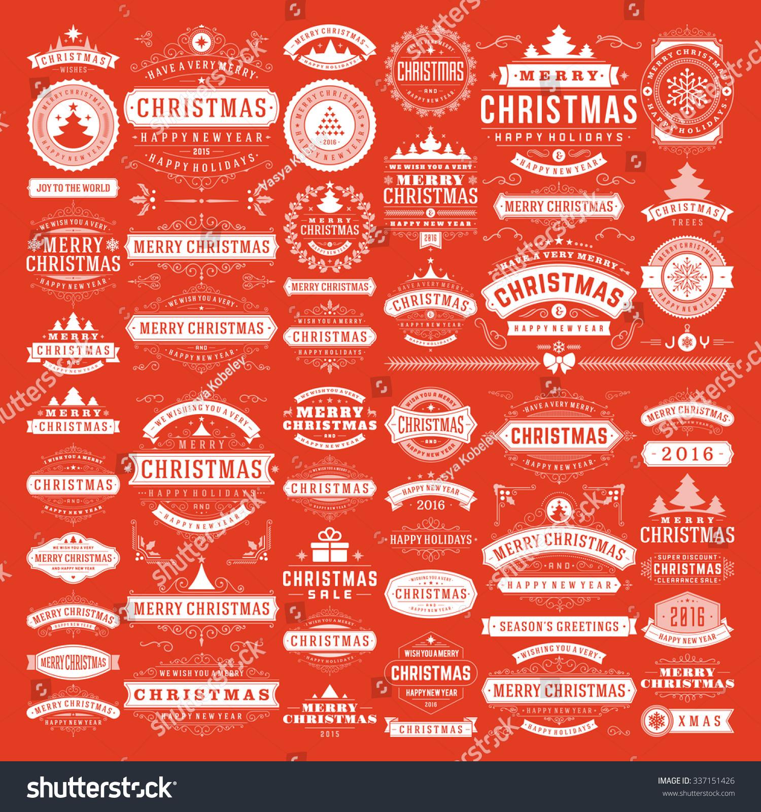 Christmas Decorations Vector Design Elements Typographic