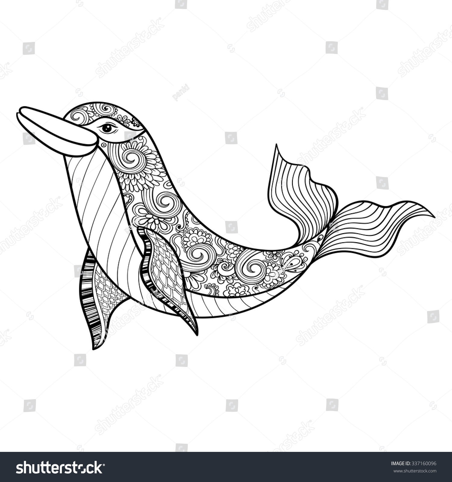 zentangle vector sea dolphin anti stock vector 337160096