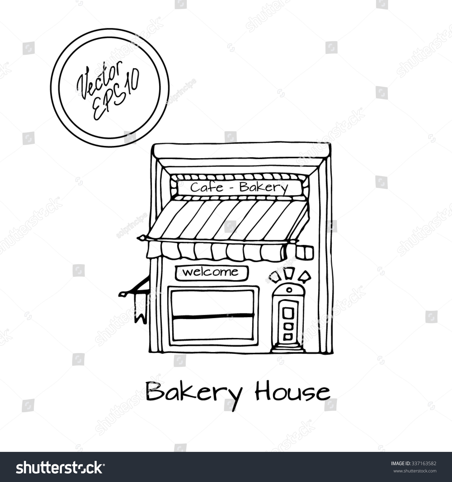 Hand drawn sketch of detached house and bakery big window black and white sketch