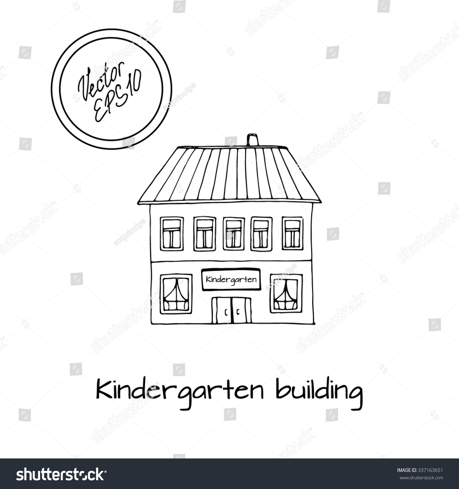 Hand drawn sketch of detached house with kindergarten and big windows and roof black and
