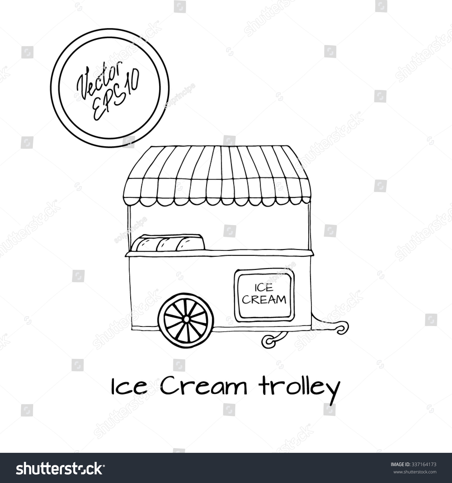 Hand drawn sketch of ice cream trolley black and white sketch front view with
