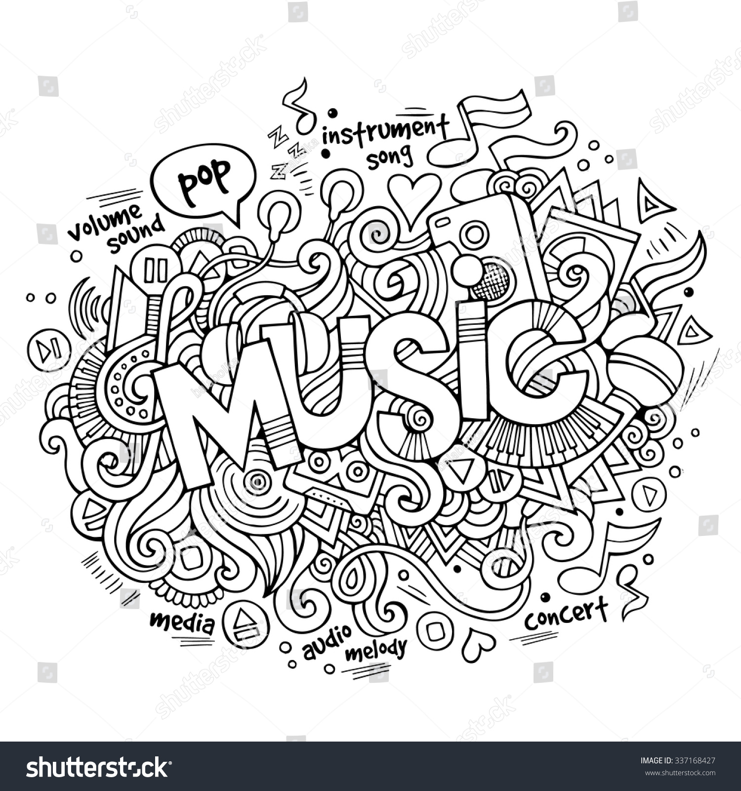 Stock vector music hand lettering and doodles elements - Music Hand Lettering And Doodles Elements And Symbols Background Vector Hand Drawn Sketchy Illustration
