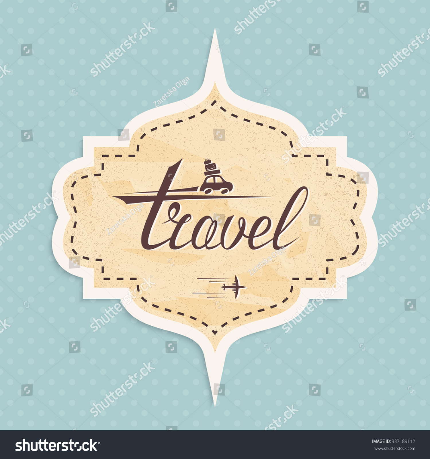 Retro sticker in pastel color on the subject of travel vector illustration