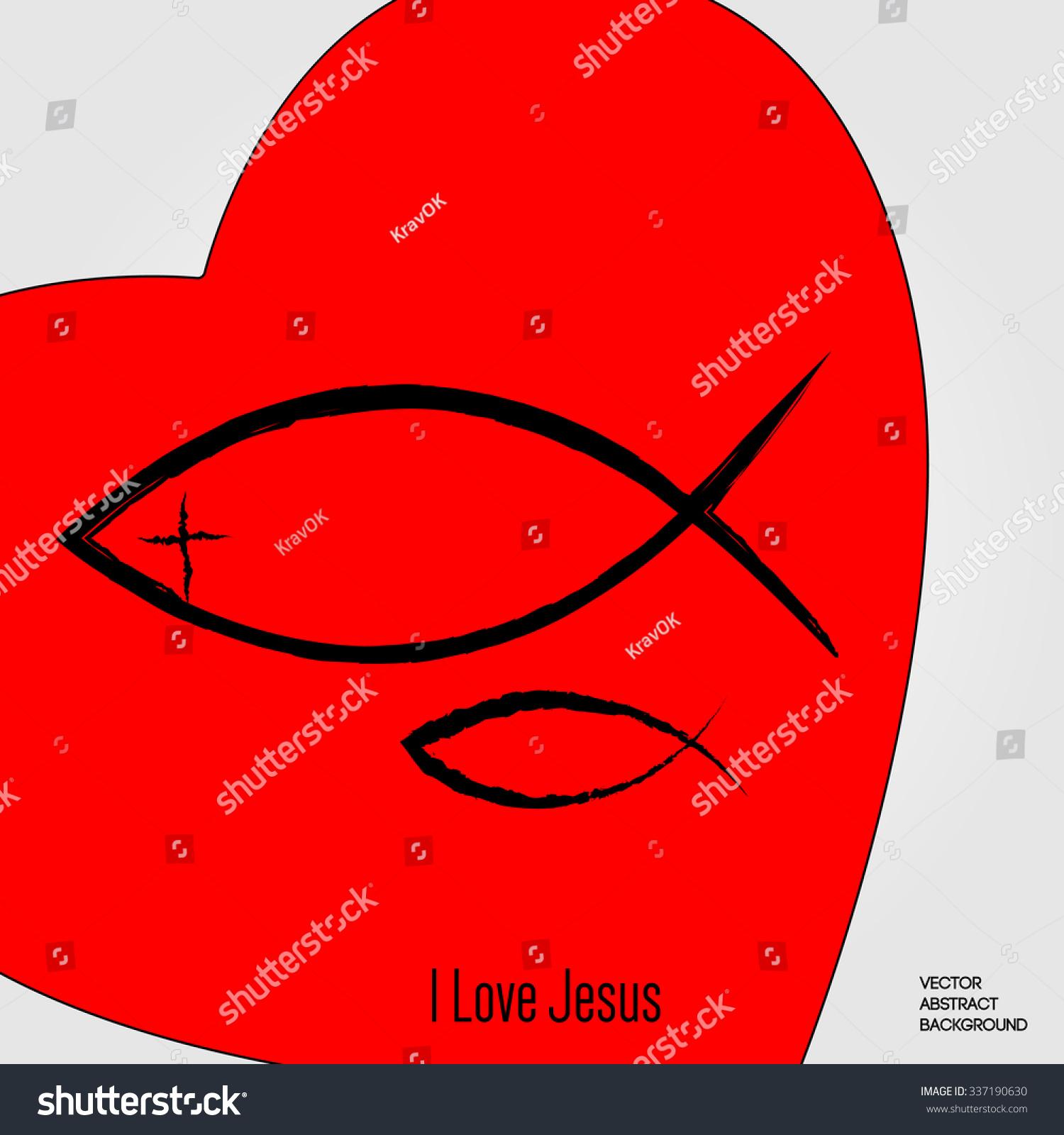 love jesus red heart christian fish stock vector 337190630