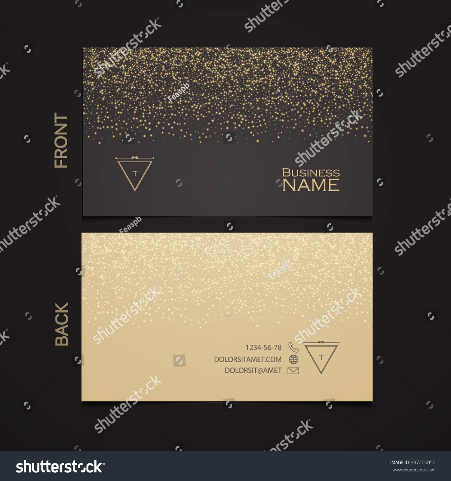 Elegant template luxury business card gold stock vector 337200050 elegant template luxury business card with gold dust place for text particles background reheart Gallery
