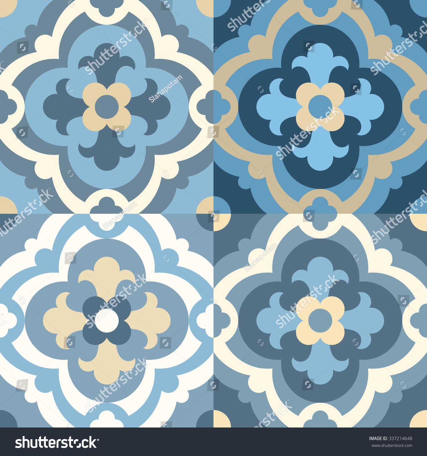 Floor Tiles Seamless Vintage Pattern Quatrefoils Stock Vector ...