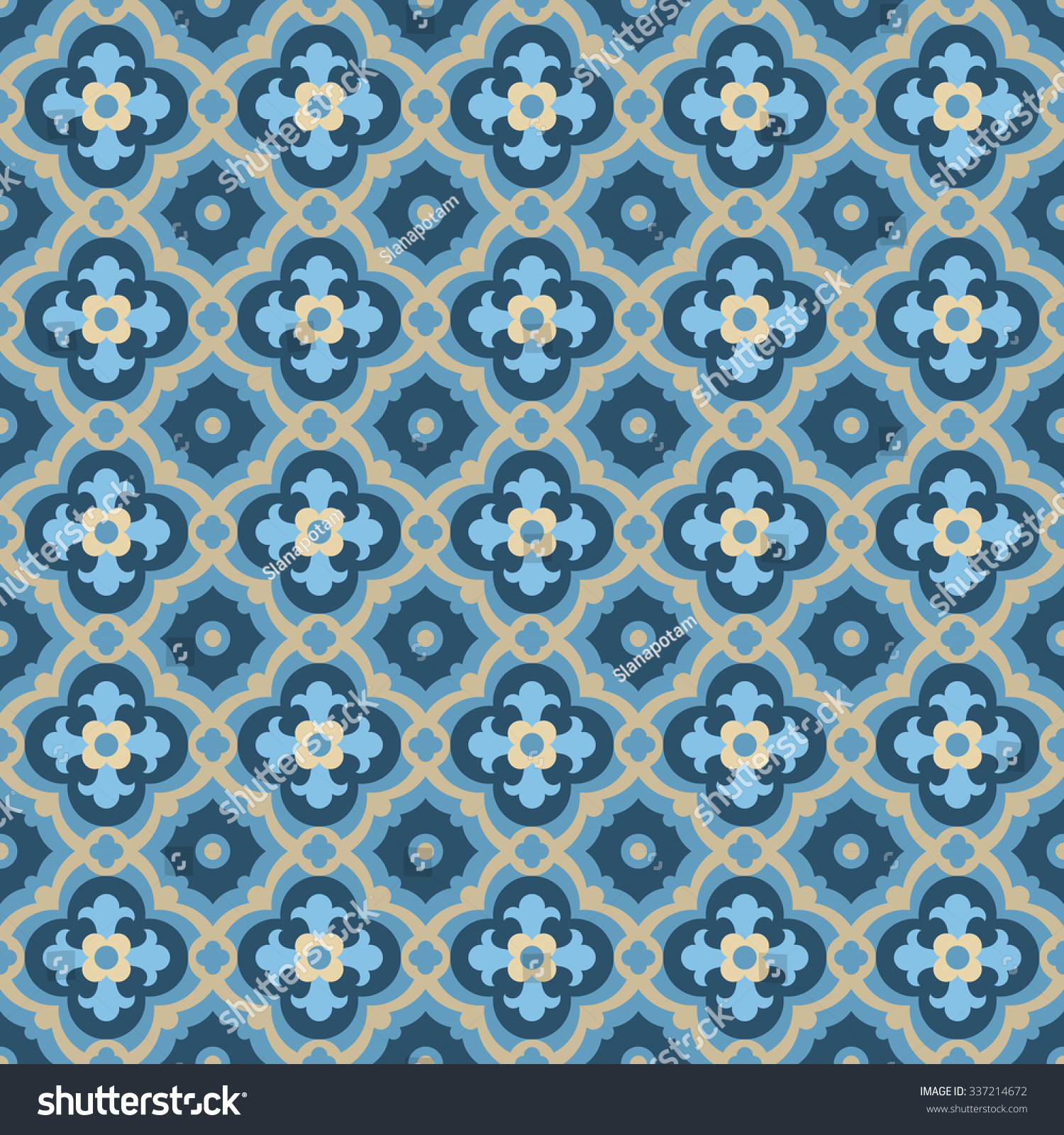 Floor Tiles Seamless Vintage Pattern Quatrefoils Stock Vector ...