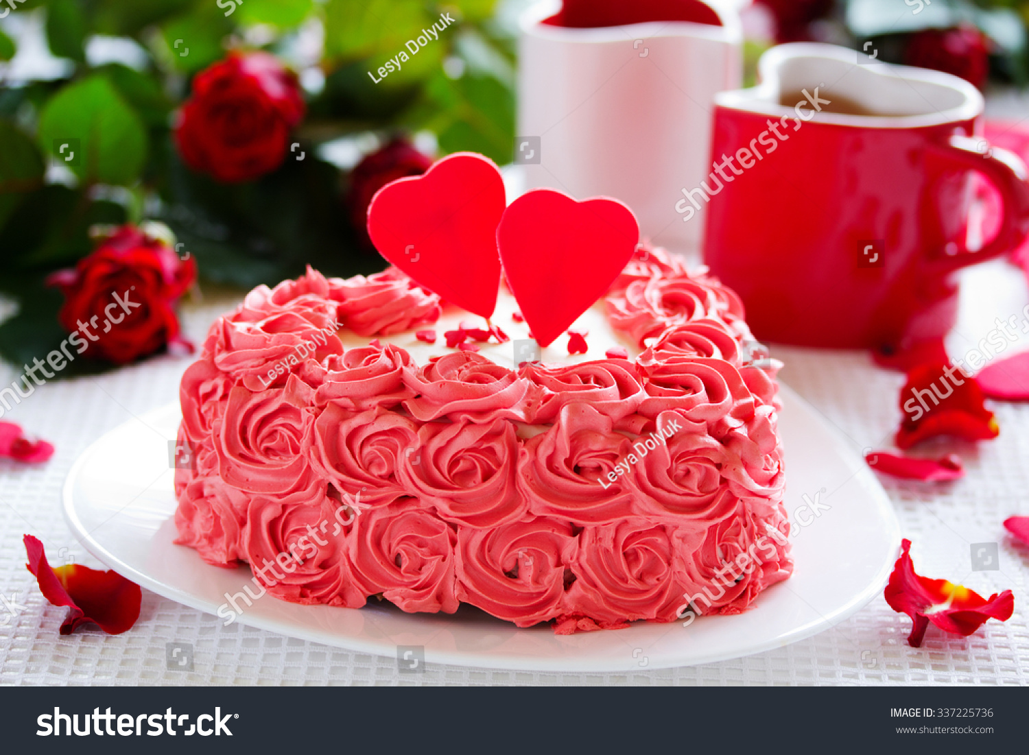 Magnificent Birthday Cake Valentines Day Roses Stock Photo Edit Now 337225736 Funny Birthday Cards Online Fluifree Goldxyz