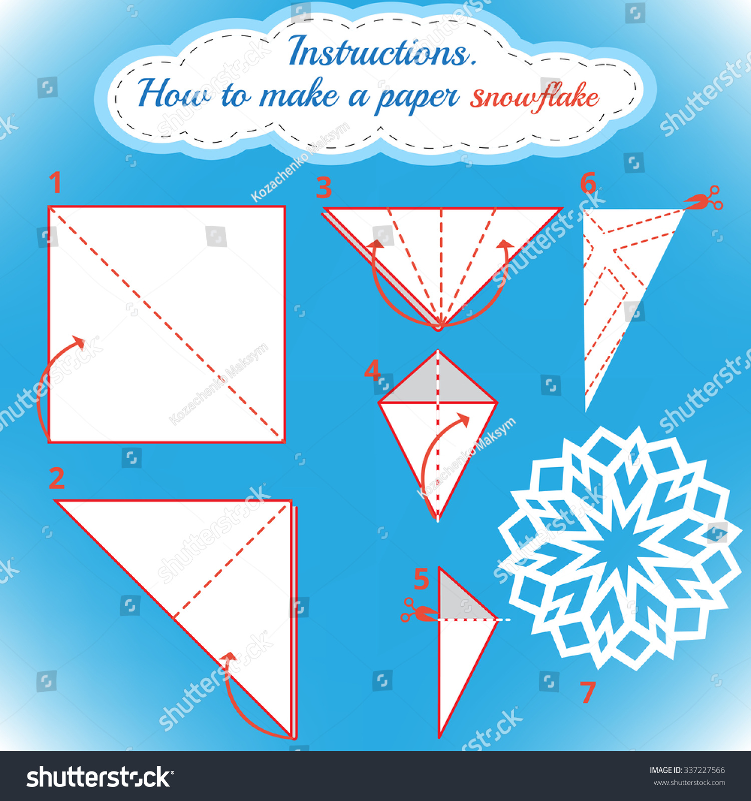 instructions how to make paper snowflake tutorial christmas snowflake step by step vector. Black Bedroom Furniture Sets. Home Design Ideas