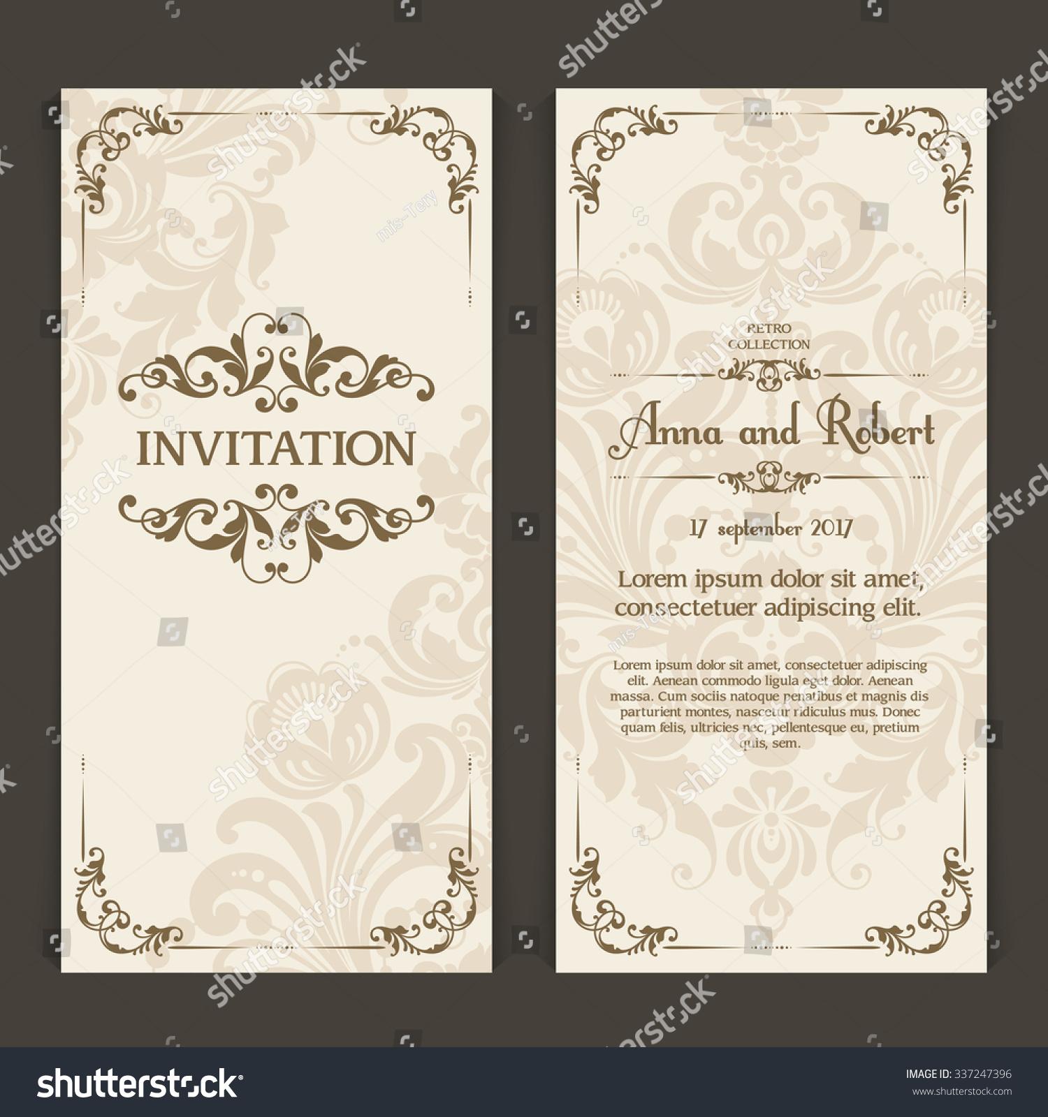 Elegant vintage wedding invitation design vector stock vector elegant vintage wedding invitation design vector set of vertical banners with ornamental frame and patterned stopboris Image collections