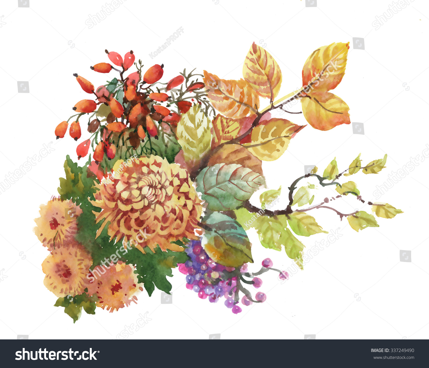 Watercolor Autumn Background Dogwood Flowers Yellow Stock ...
