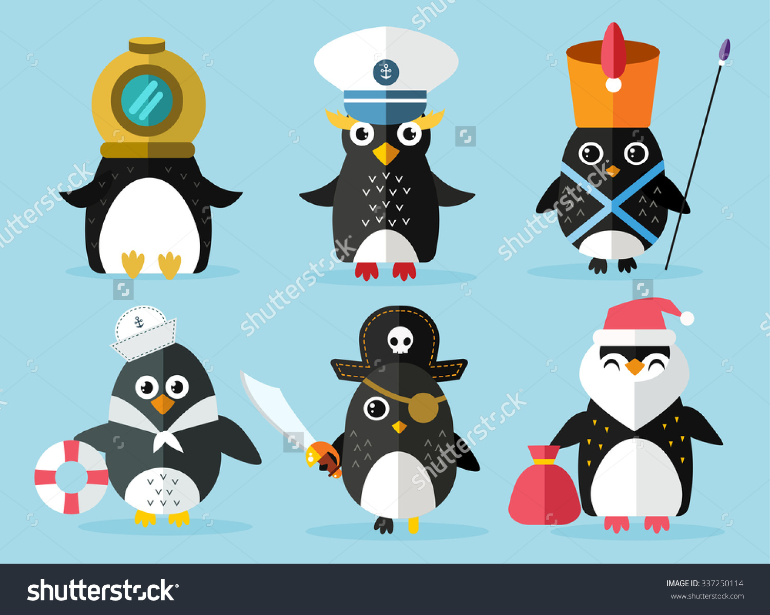 Penguin set vector illustration Cartoon funny penguins different situations Penguin clown pirate christmas santa captain sailor cook.Cartoon penguin vector set illustration.Penguin vector birds