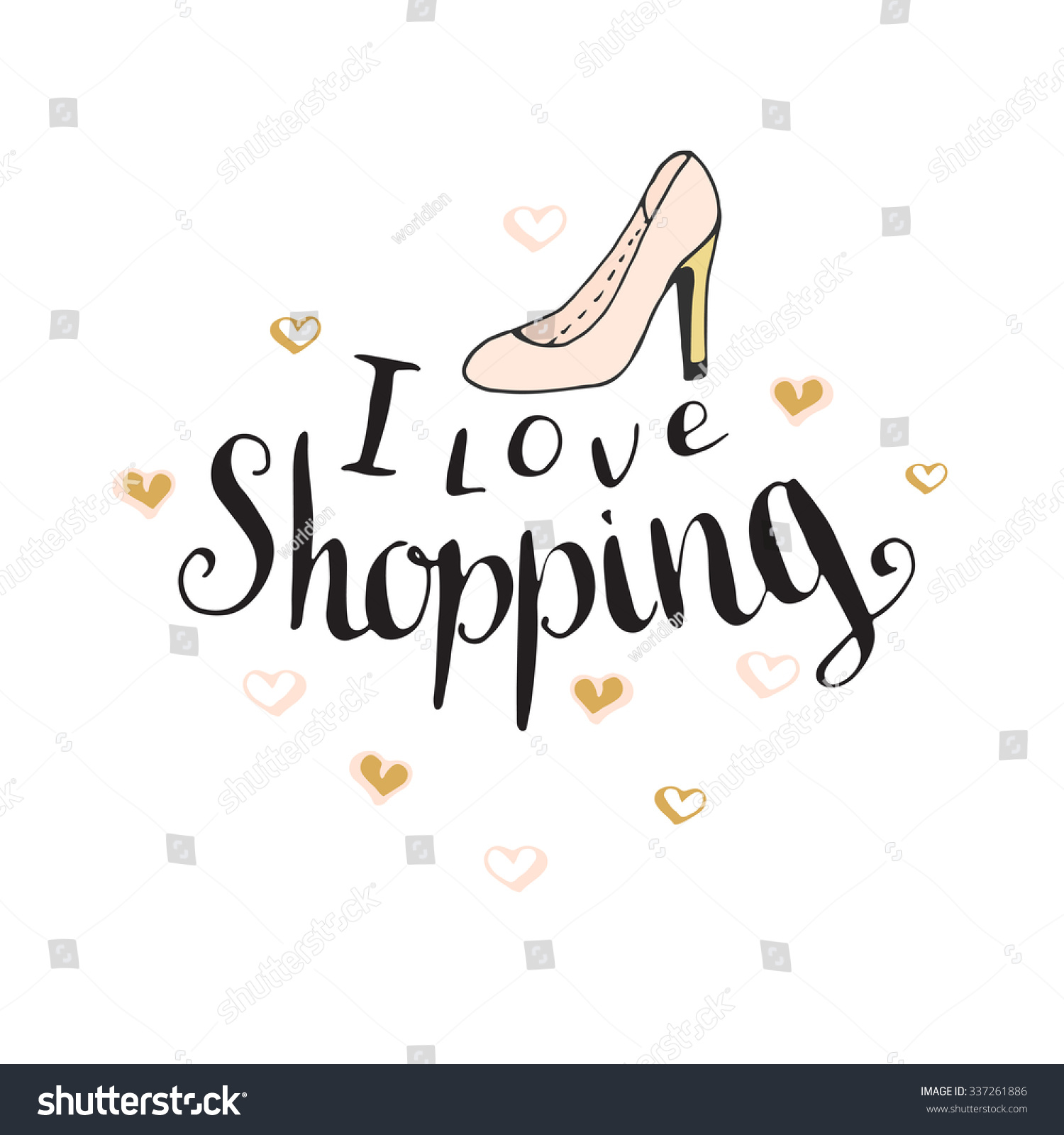 Love Shopping Fashion Quote Blog Design Stock Vector