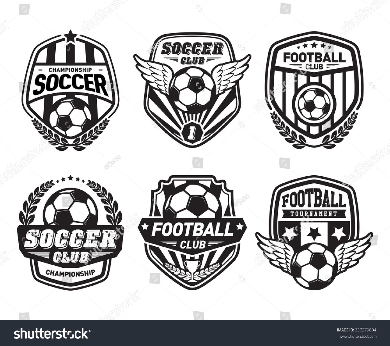 set soccer football crests logo emblem stock vector