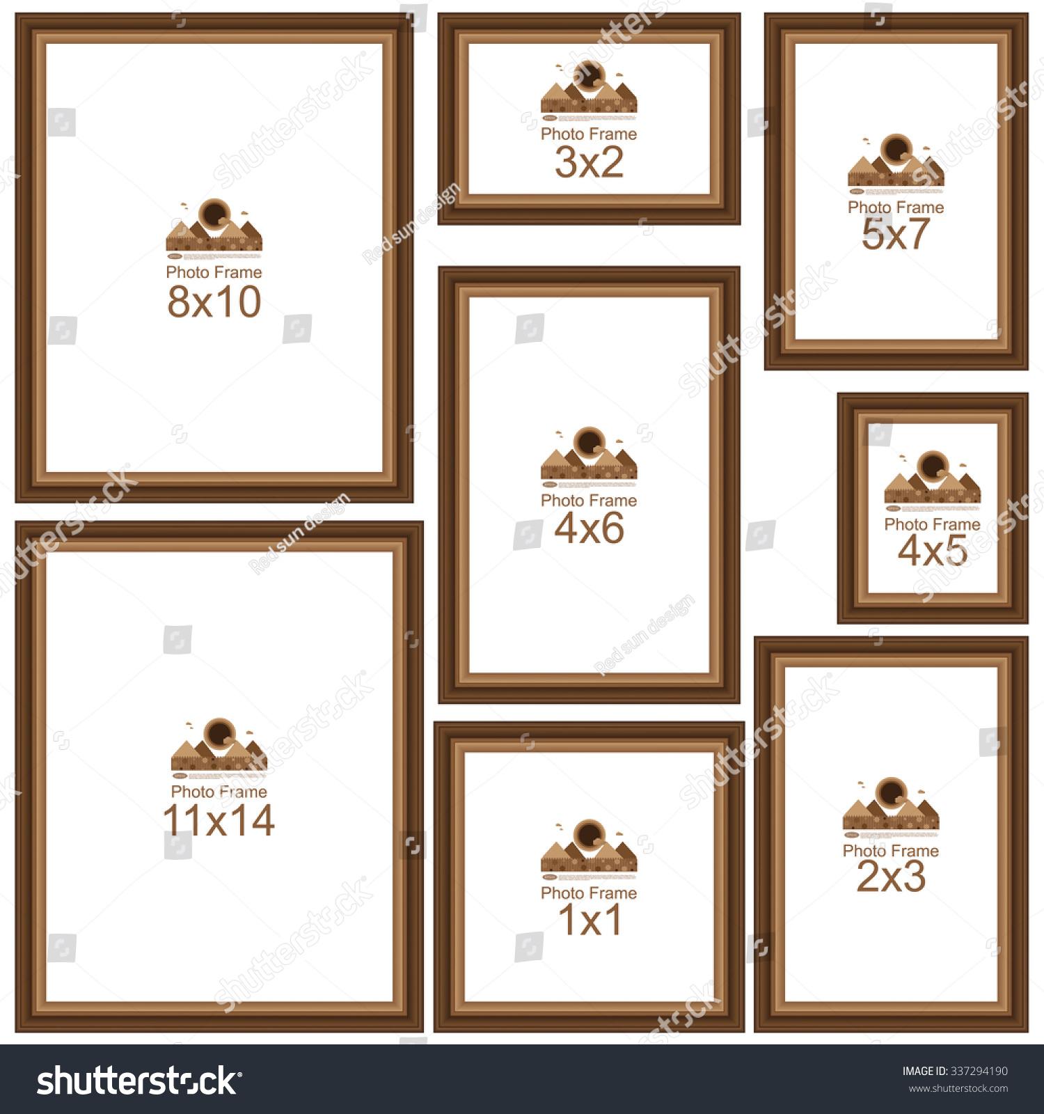 Popular Picture Frame Sizes Wood Border Stock Vector 337294190 Shutterstock