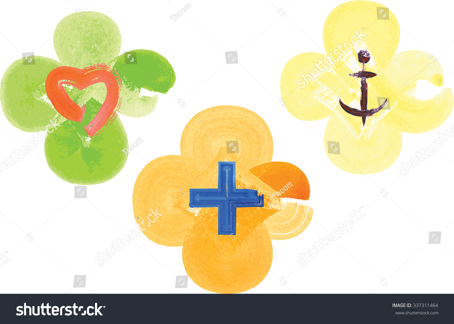 Three Artistic Watercolor Symbols Representing Three Stock