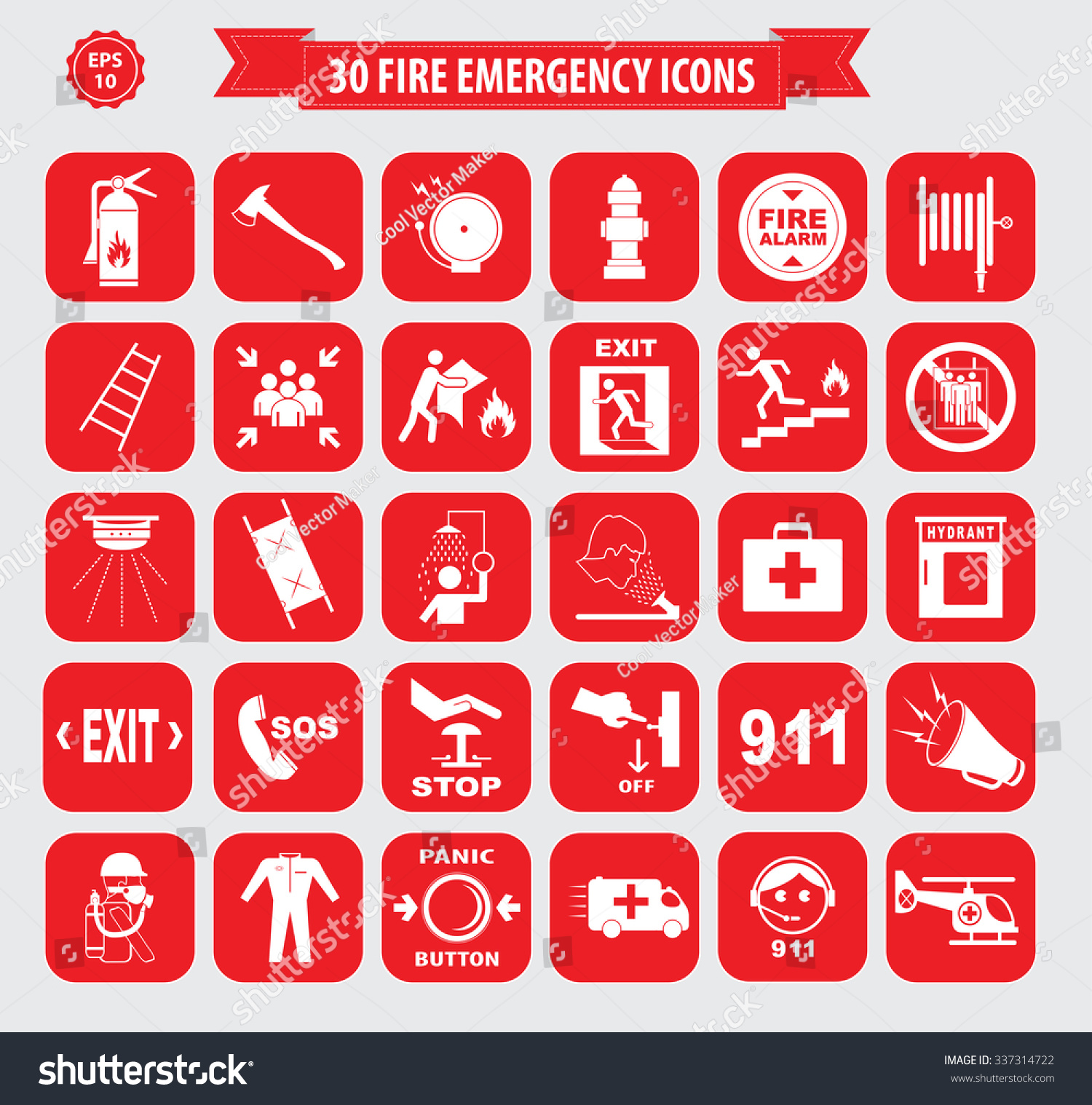 Set Fire Emergency Icon Fire Emergency Stock Vector Royalty Free