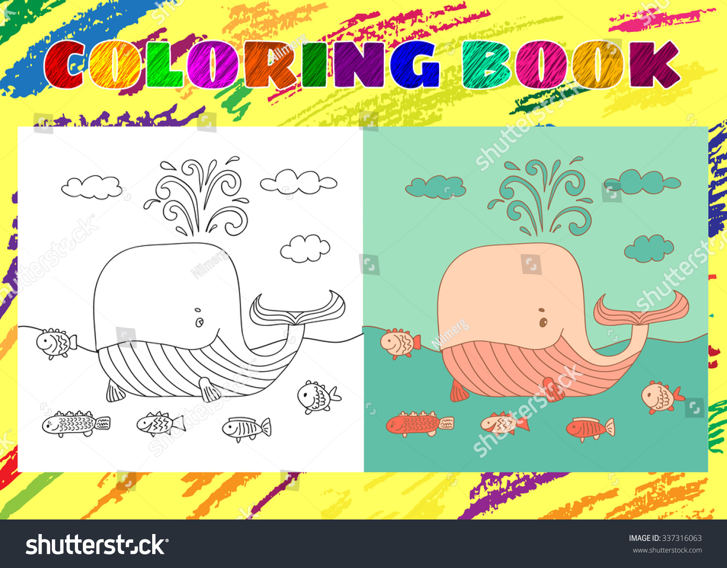 Coloring Book Kids Sketchy Little Pink Stock Vector 337316063 ...