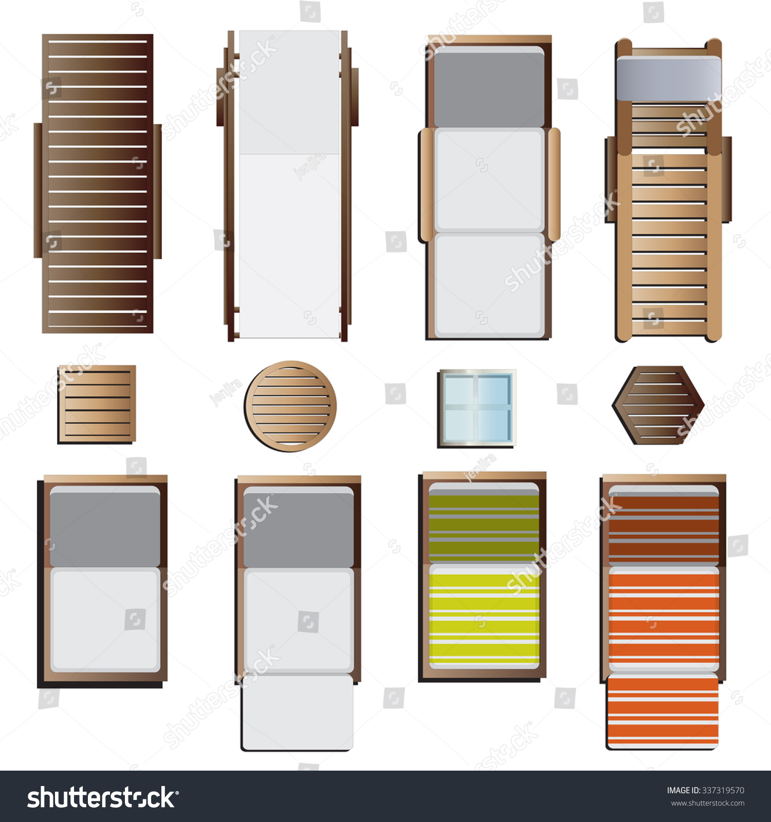 Beach lounge chair drawing - Outdoor Furniture Sunbeds Set Top View Stock Vector