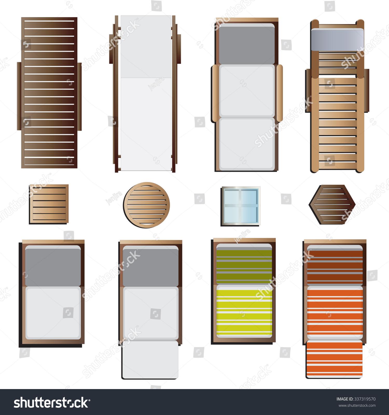 Furniture top view images - Outdoor Furniture Sunbeds Set Top View Set 8 For Landscape Design