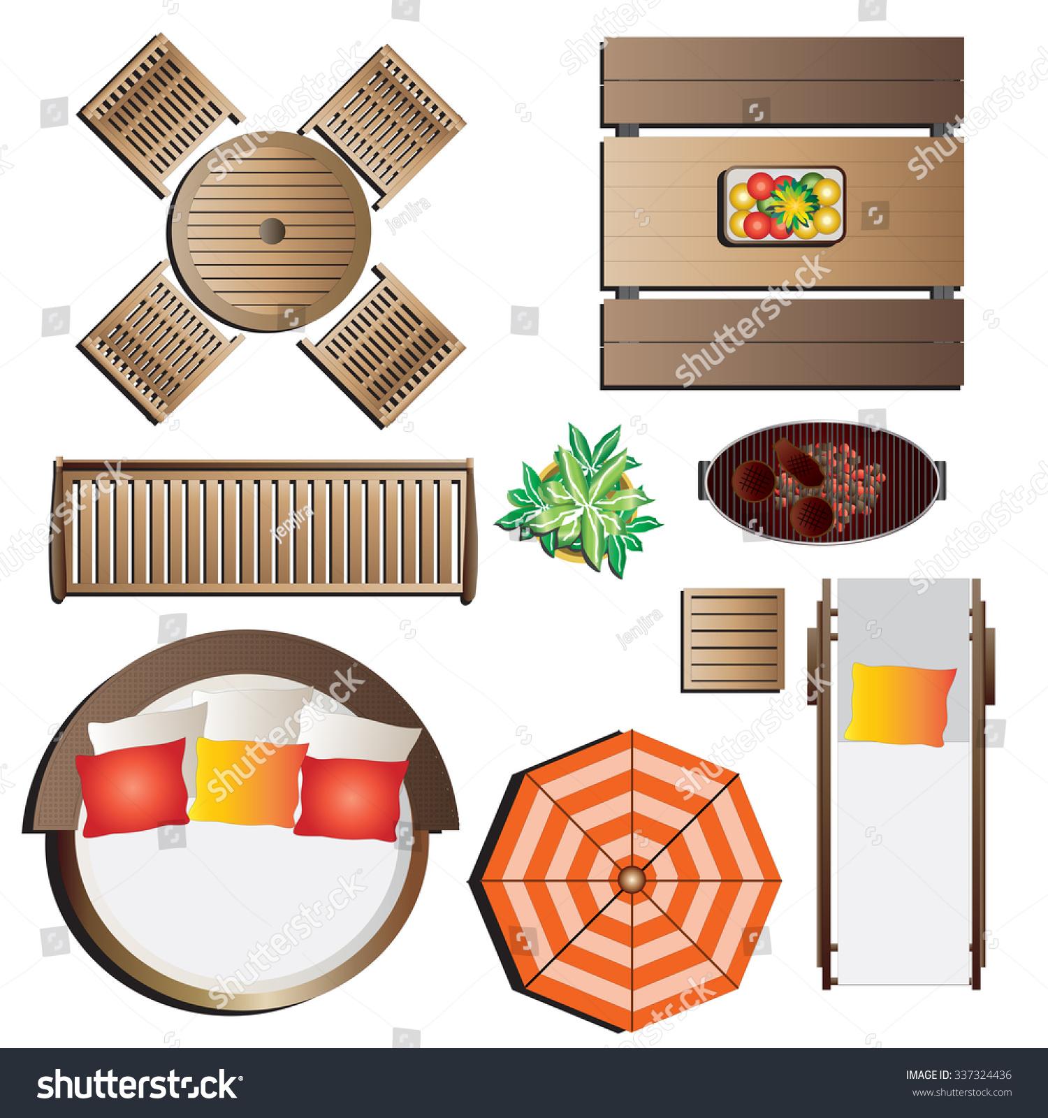 outdoor furniture top view set 13 for landscape design - Garden Furniture Top View