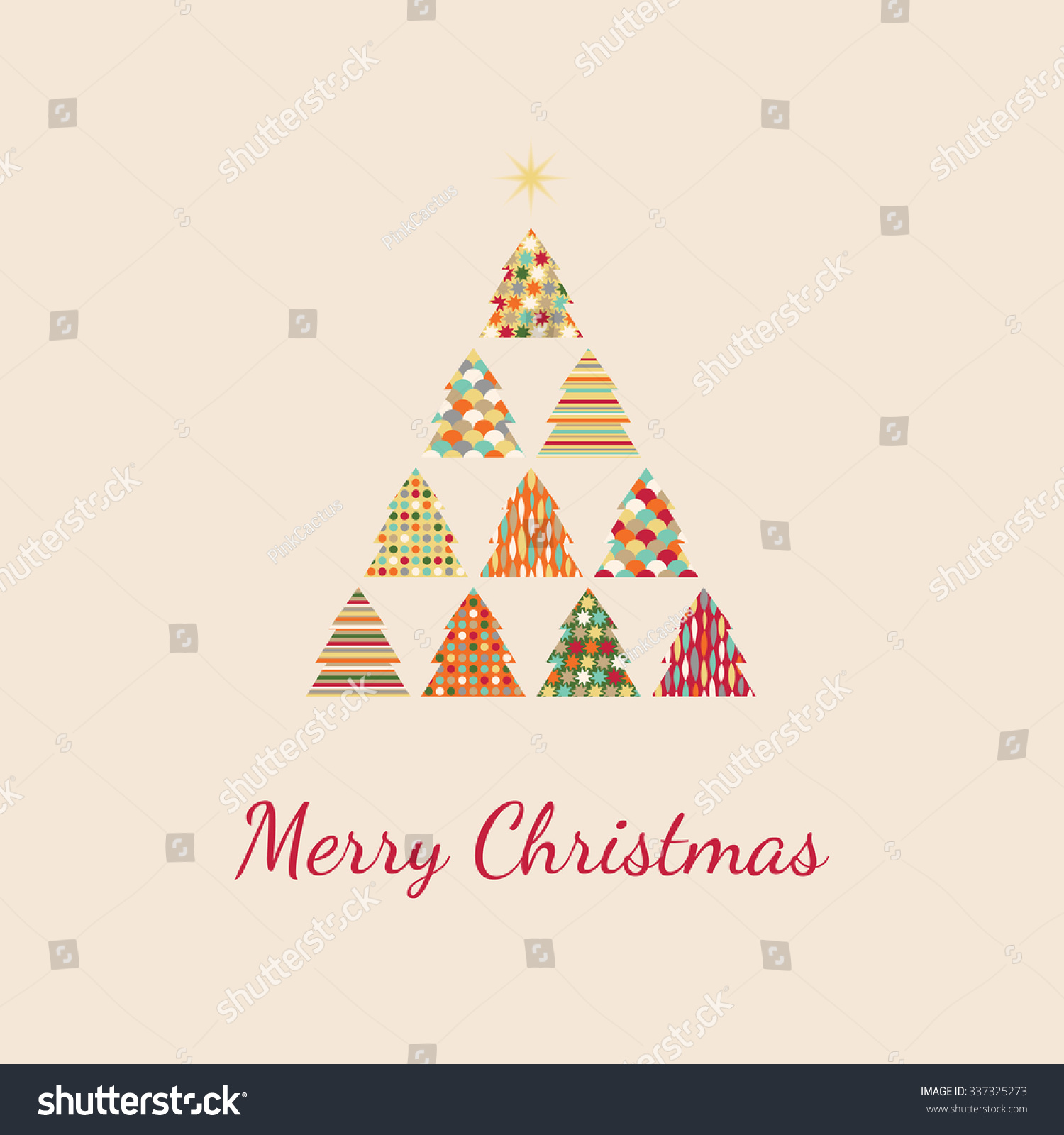 retro christmas card merry christmas patterned christmas trees - Retro Christmas Tree