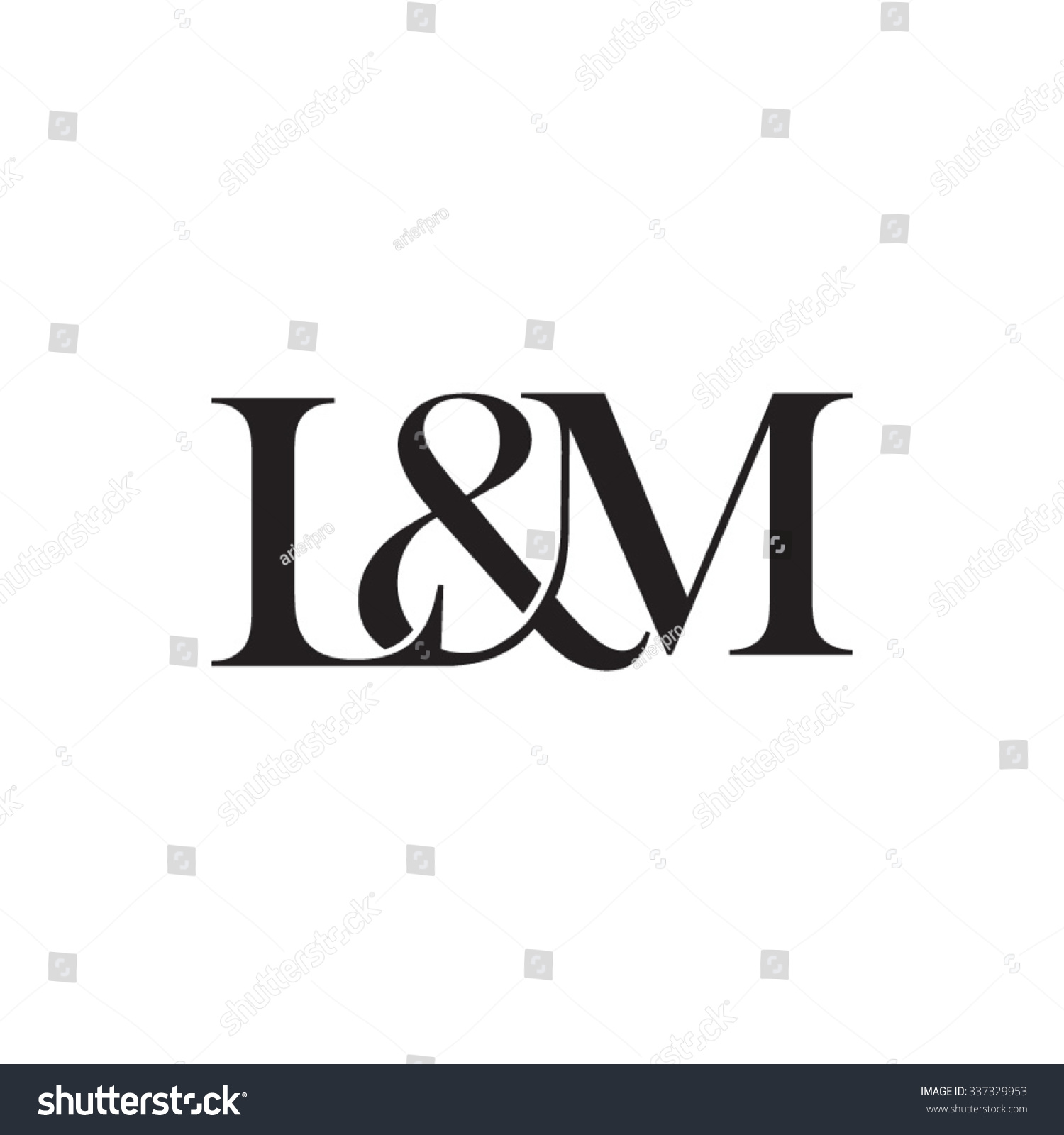 lampm initial logo ampersand monogram logo stock vector