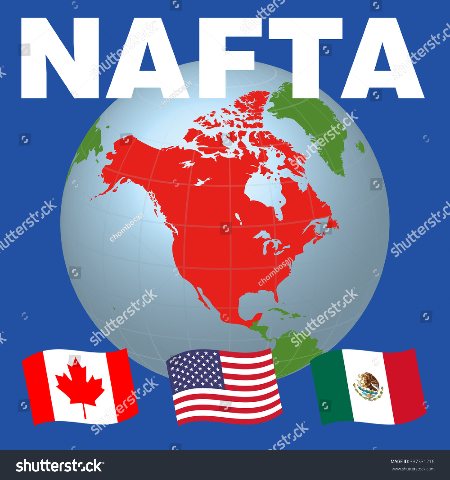 Nafta North American Free Trade Agreement Stock Vector 337331216