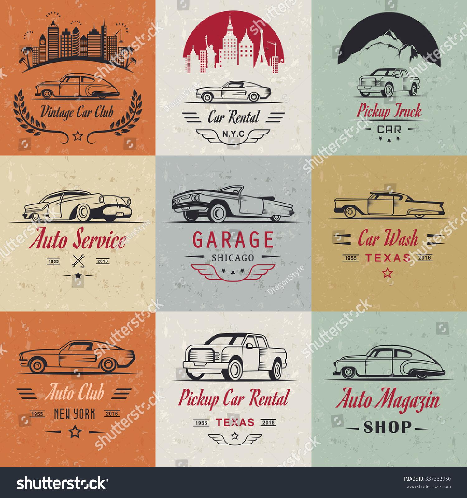 Vector Set Of Vintage Car Symbols And Sign. Car Service