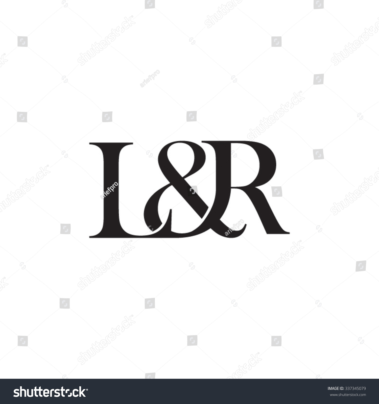 lampr initial logo ampersand monogram logo stock vector