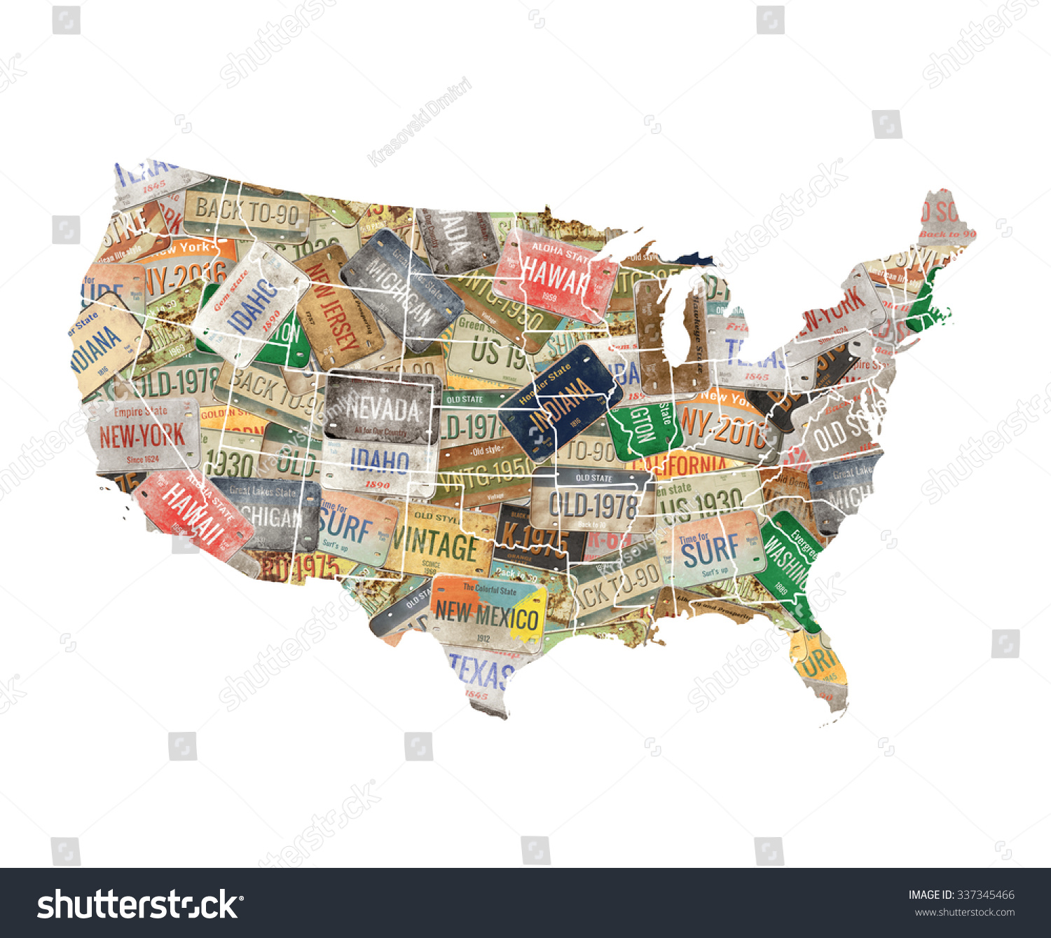 Usa Map License Plate Collage Stock Illustration 337345466